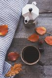 Cup of coffee, cozy knitted scarf, leaves on wooden board. Autumn still life. Toned image, vintage style. Stock Images