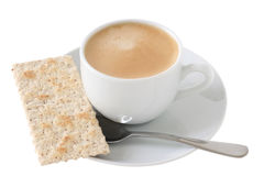 A cup of coffee with cracker Stock Photo