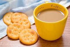 Cup of coffee and crackers Stock Photo