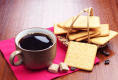 Cup of coffee and crackers Stock Photography