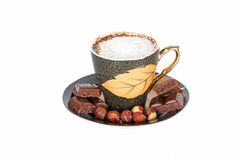 Cup of coffee with cream and chocolate Royalty Free Stock Photos