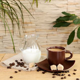 A cup of coffee with cream and jug cream Royalty Free Stock Photos