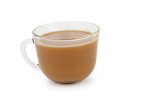 Cup of coffee with cream on white Stock Image