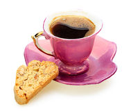 A cup of coffee and crispy toast with almonds Royalty Free Stock Photos