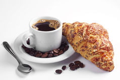 Cup of coffee and croissant with cheese Stock Photo