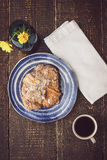 Cup of coffee with croissant  and flower top view Stock Images