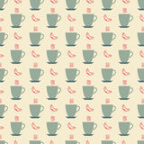 Cup of coffee and croissant pattern Royalty Free Stock Photo