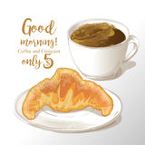 Cup of coffee and croissant vector illustration royalty free illustration