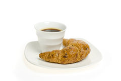 cup of coffee with croissant on white Stock Photo