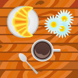 Cup of coffee with croissant on wood background. Top view. Royalty Free Stock Photography