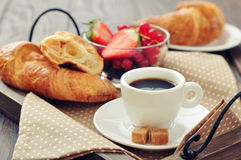 Cup of coffee with croissants Royalty Free Stock Photography