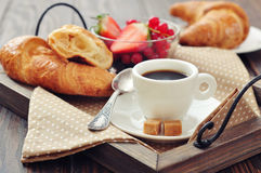 Cup of coffee with croissants Royalty Free Stock Image
