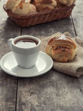 Cup of coffee and croissants Stock Photo