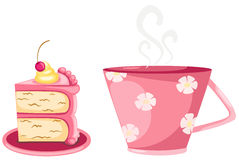 A cup of coffee and cup cake stock illustration
