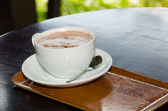 Cup coffee and cup coco hot. Get ready royalty free stock photos