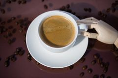 Cup of coffee, cup of espresso, latte macchiato, brown backgroun Stock Photography