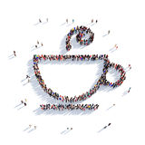 Cup of coffee cup of tea people 3d Stock Photography