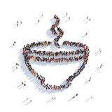 Cup of coffee cup of tea people 3d Royalty Free Stock Photography