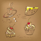 A cup of coffee cupcake and cheese. With inscription Royalty Free Stock Photography