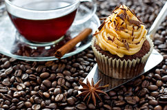 A cup of coffee and a cupcake coffee beans. Chocolate cupcake with caramel cream on coffee beans selective focus Royalty Free Stock Photo