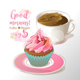 Cup of coffee and cupcake vector illustration Royalty Free Stock Images