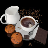 Cup of Coffee with Cupcakes Royalty Free Stock Images