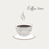 Cup of coffee with curly design elements Royalty Free Stock Images