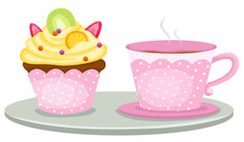 Cup of coffee and cute cup cake Stock Photography