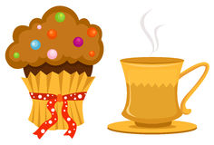 Cup of coffee and cute cup cake Royalty Free Stock Photos