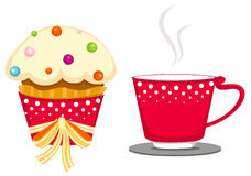 Cup of coffee and cute cup cake Stock Image