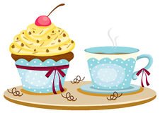 Cup of coffee and cute cup cake Royalty Free Stock Image