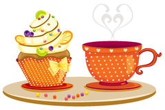 Cup of coffee and cute cup cake Royalty Free Stock Photography