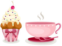 Cup of coffee and cute cup cake royalty free illustration