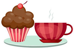 Cup of coffee and cute cup cake stock illustration