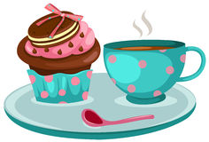 Cup of coffee and cute cup cake. Illustration  of isolated a cup of coffee and cute cup cake Stock Photography