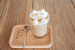 A cup of coffee with cute latte art 3D Stock Photos