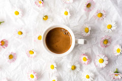 Cup of coffee and daisy flowers Royalty Free Stock Images