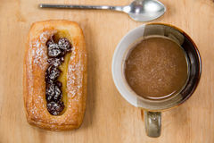 Cup of coffee and danish pastry. Stock Photo