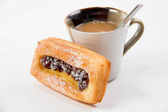 Cup of coffee and danish pastry. Stock Images
