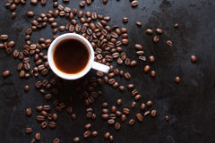 Cup of coffee. On a dark background Stock Image