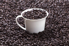 Cup of coffee. On dark background Royalty Free Stock Photos