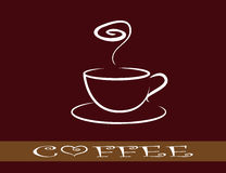 The cup of coffee on dark red background - styli Royalty Free Stock Images