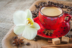 Cup of coffee on  decorated with spices Royalty Free Stock Photo