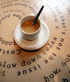 Cup of coffee. On the decorated table written decorative - cup coffee coffee shop stock photo