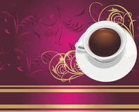 Cup with coffee on the decorative backgroun Royalty Free Stock Images
