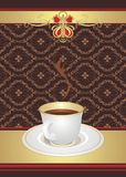Cup with coffee on the decorative background Royalty Free Stock Images
