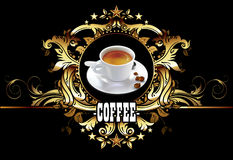 Cup of coffee in decorative design Royalty Free Stock Photo