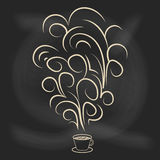 Cup of coffee with decorative elements. Chalkboard style vector illustration. For typography,  posters, prints or home decorations Stock Photography