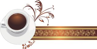 Cup with coffee on the decorative ribbon stock photography