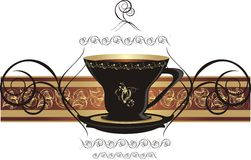 Cup with coffee and decorative ribbon royalty free stock images